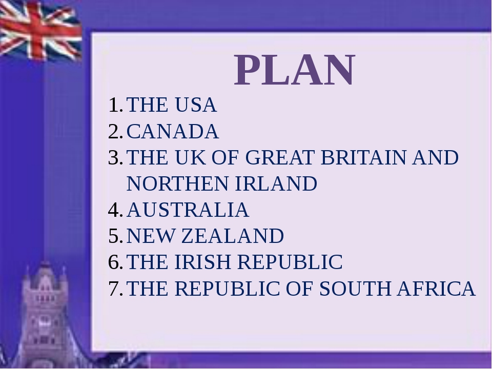 PLAN THE USA CANADA THE UK OF GREAT BRITAIN AND NORTHEN IRLAND AUSTRALIA NEW...
