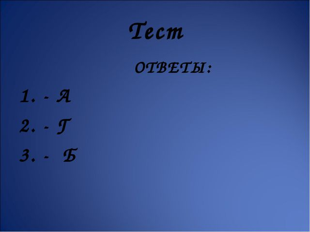 Тест ОТВЕТЫ: 1. - А 2. - Г 3. - Б