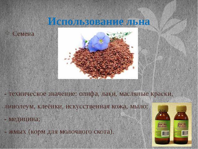 Использование льна Семена - техническое значение: олифа, лаки, масляные краск...