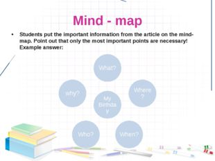 Mind - map Students put the important information from the article on the min