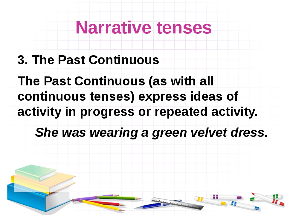 Narrative tenses 3. The Past Continuous The Past Continuous (as with all cont...