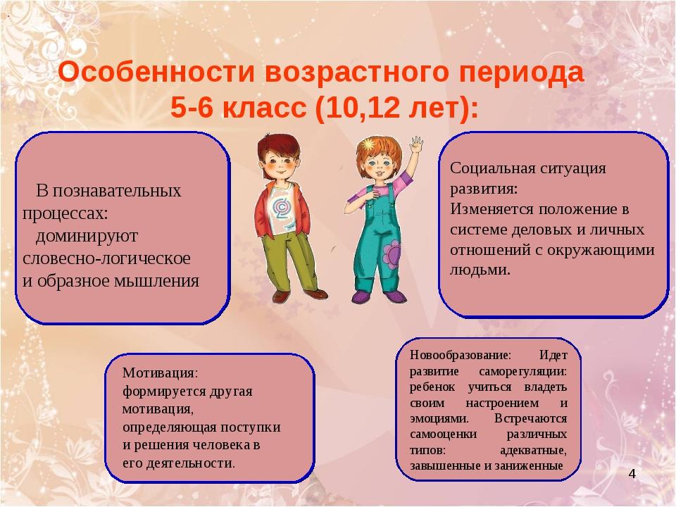 * Особенности возрастного периода 5-6 класс (10,12 лет): В познавательных про...