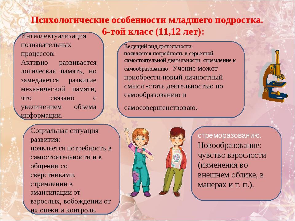 Психологические особенности младшего подростка. 6-той класс (11,12 лет): стре...