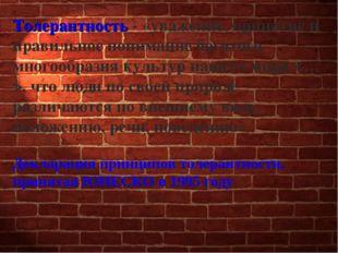 Толерантность - «уважение, принятие и правильное понимание богатого многообра