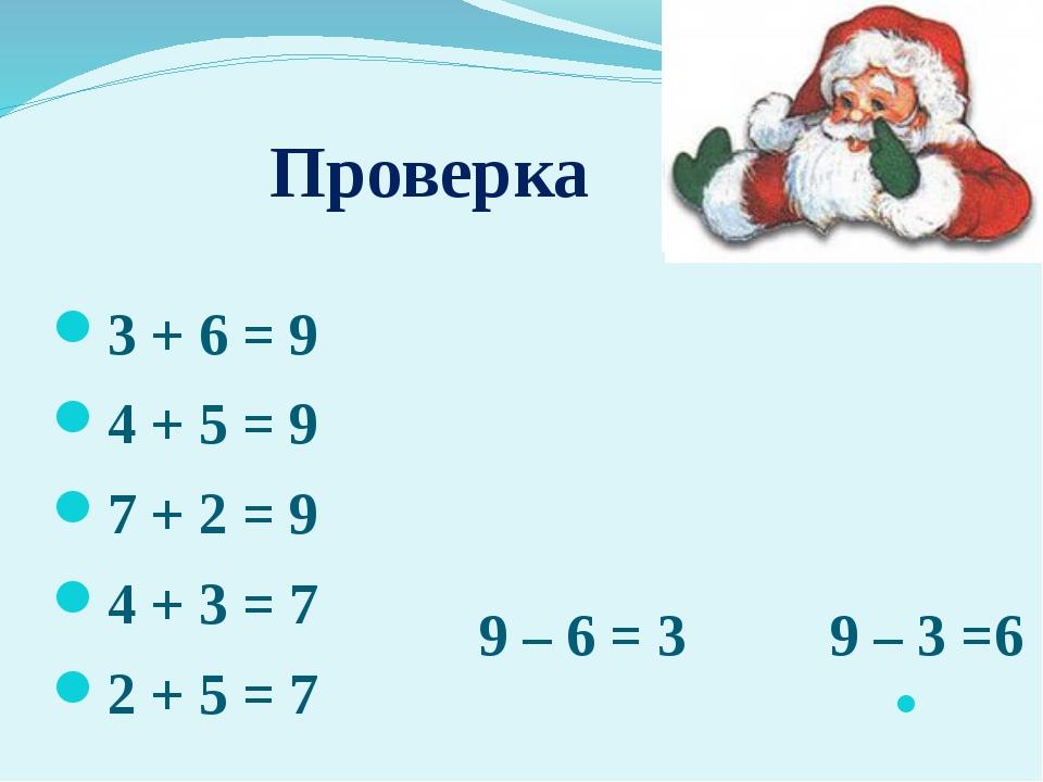 Проверка 3 + 6 = 9 4 + 5 = 9 7 + 2 = 9 4 + 3 = 7 2 + 5 = 7 9 – 6 = 3 9 – 3 =6