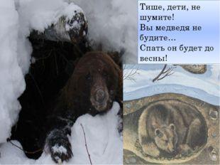 Тише, дети, не шумите! Вы медведя не будите… Спать он будет до весны!