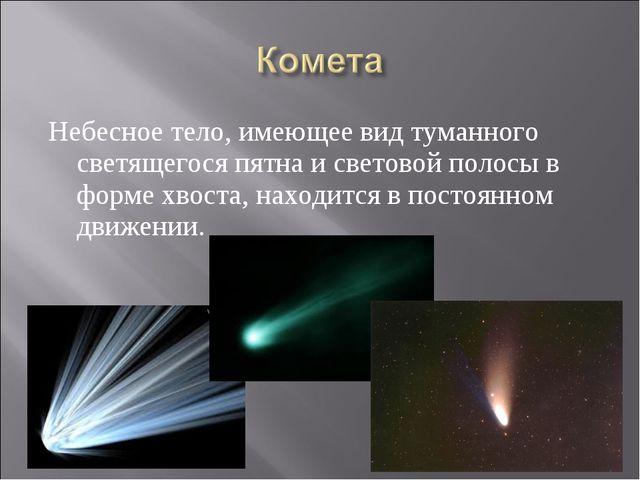 Небесное тело, имеющее вид туманного светящегося пятна и световой полосы в фо...