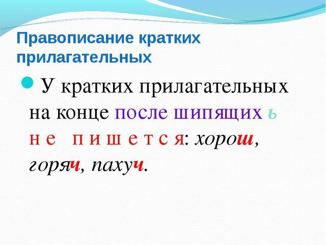 Правописание кратких прилагательных У кратких прилагательных на конце после ш...