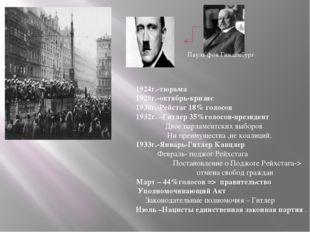 Пауль фон Гинденбург 1924г.-тюрьма 1929г.-октябрь-кризис 1930г.-Рейстаг 18% г