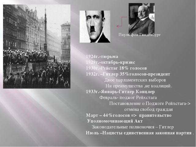 Пауль фон Гинденбург 1924г.-тюрьма 1929г.-октябрь-кризис 1930г.-Рейстаг 18% г...