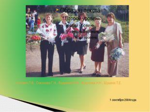 Котович Т.В., Соколова Г.Н., Андреева Е.В., Андреева Н.Н., Шушина Т.Е. 1 сент