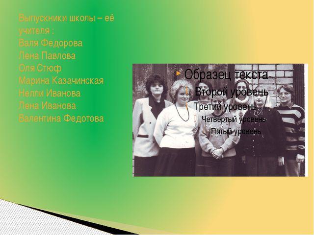 Выпускники школы – её учителя : Валя Федорова Лена Павлова Оля Стюф Марина Ка...
