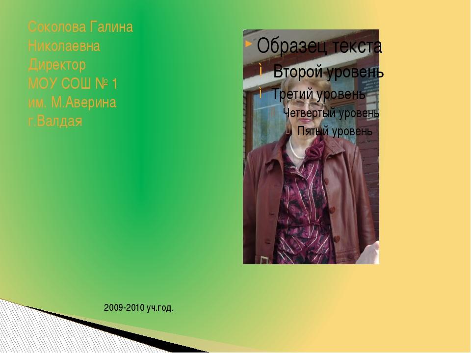 Соколова Галина Николаевна Директор МОУ СОШ № 1 им. М.Аверина г.Валдая 2009-2...
