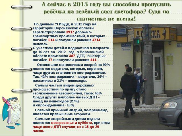По данным УГИБДД, в 2012 году на территории Воронежской области зарегистриро...