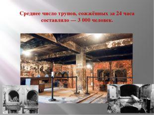 Среднее число трупов, сожжённых за 24 часа составляло — 3 000 человек.