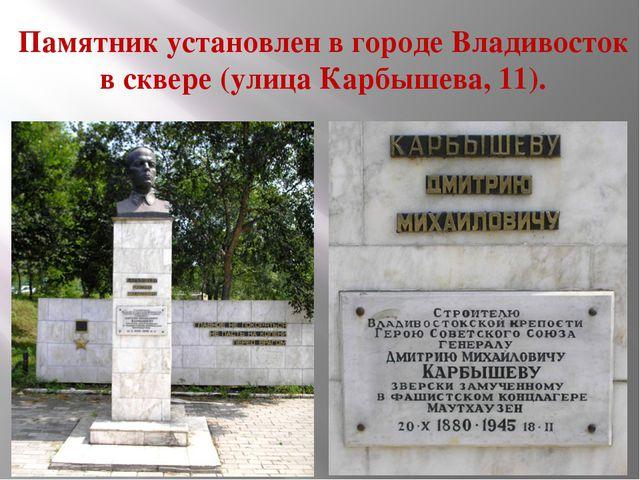Памятник установлен в городе Владивосток в сквере (улица Карбышева, 11).