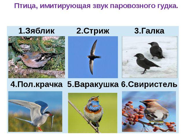 Птица, имитирующая звук паровозного гудка. Зяблик 2.Стриж 3.Галка 4.Пол.крач...