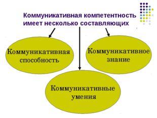 Коммуникативная компетентность имеет несколько составляющих Коммуникативная с