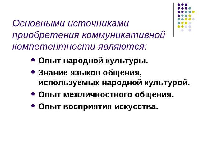 Основными источниками приобретения коммуникативной компетентности являются: О...