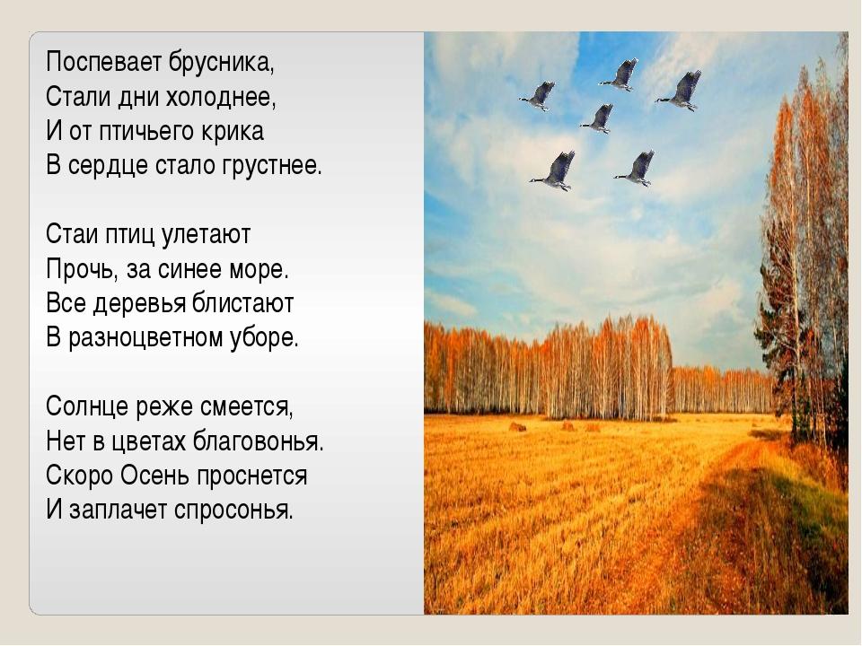 Поспевает брусника, Стали дни холоднее, И от птичьего крика В сердце стало гр...