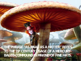 """THE PHRASE """"AS MAAD AS A HATTER"""" REFES TO THE 19TH CENTURY USAGE OF A MERCURY"""