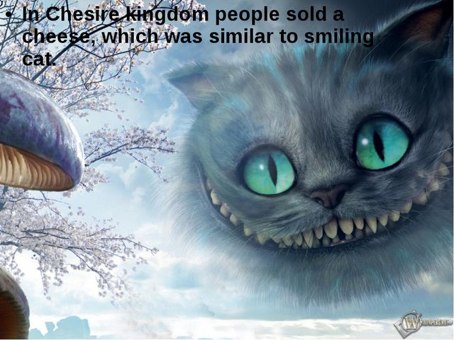 In Chesire kingdom people sold a cheese, which was similar to smiling cat.