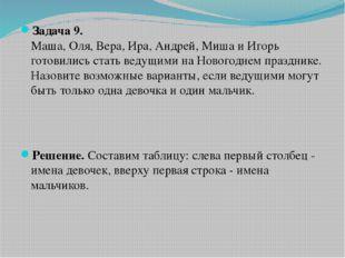 Задача 9. Маша, Оля, Вера, Ира, Андрей, Миша и Игорь готовились стать ведущим