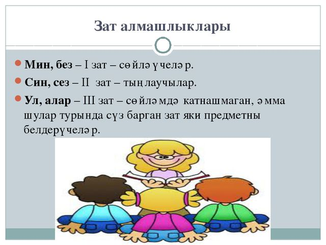 Зат алмашлыклары Мин, без – I зат – сөйләүчеләр. Син, сез – II зат – тыңлаучы...