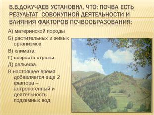 А) материнской породы Б) растительных и живых организмов В) климата Г) возрас