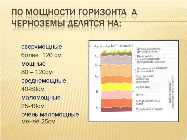 сверхмощные более 120 см мощные 80 – 120см среднемощные 40-80см маломощные 25...