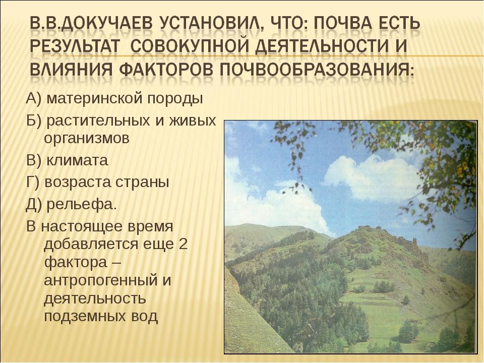 А) материнской породы Б) растительных и живых организмов В) климата Г) возрас...
