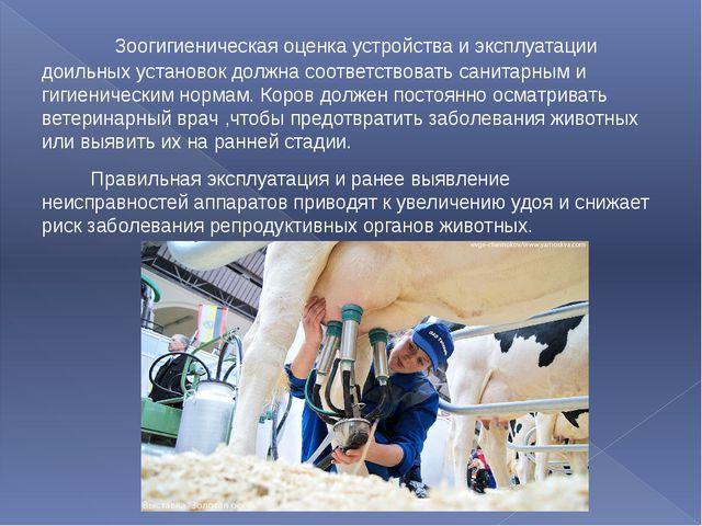Зоогигиеническая оценка устройства и эксплуатации доильных установок должна...