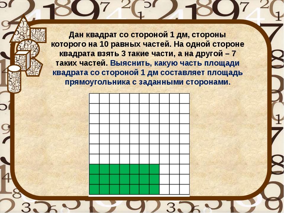 Дан квадрат со стороной 1 дм, стороны которого на 10 равных частей. На одной...
