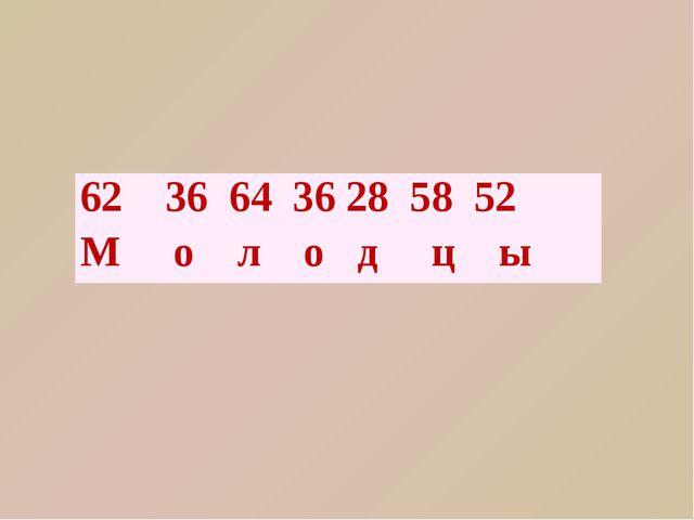 62 36 64 36 28 58 52 М о л одцы