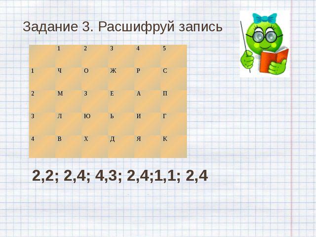Задание 3. Расшифруй запись 2,2; 2,4; 4,3; 2,4;1,1; 2,4 1 2 3 4 5 1 Ч О Ж Р С...