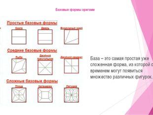 Базовые формы оригами База – это самая простая уже сложенная форма, из которо