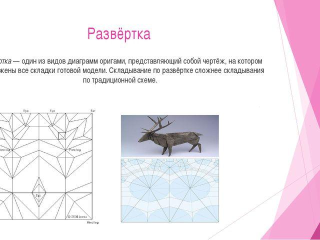 Развёртка Развёртка — один из видов диаграмм оригами, представляющий собой че...