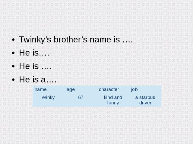 Twinky's brother's name is …. He is…. He is …. He is a…. name age character j...