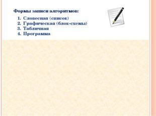 Формы записи алгоритмов: Для обозначения шагов алгоритма в блок-схеме использ