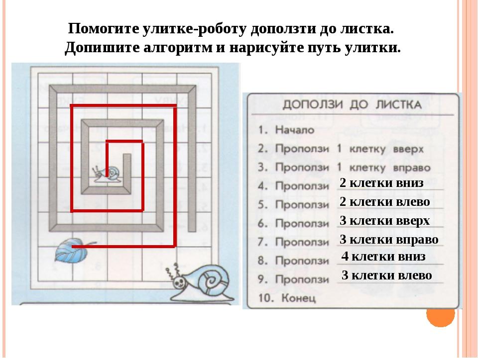 Помогите улитке-роботу доползти до листка. Допишите алгоритм и нарисуйте путь...
