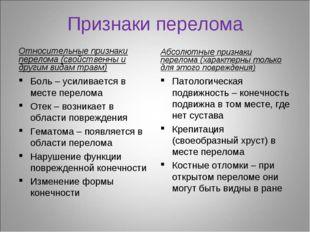 Признаки перелома Относительные признаки перелома (свойственны и другим видам
