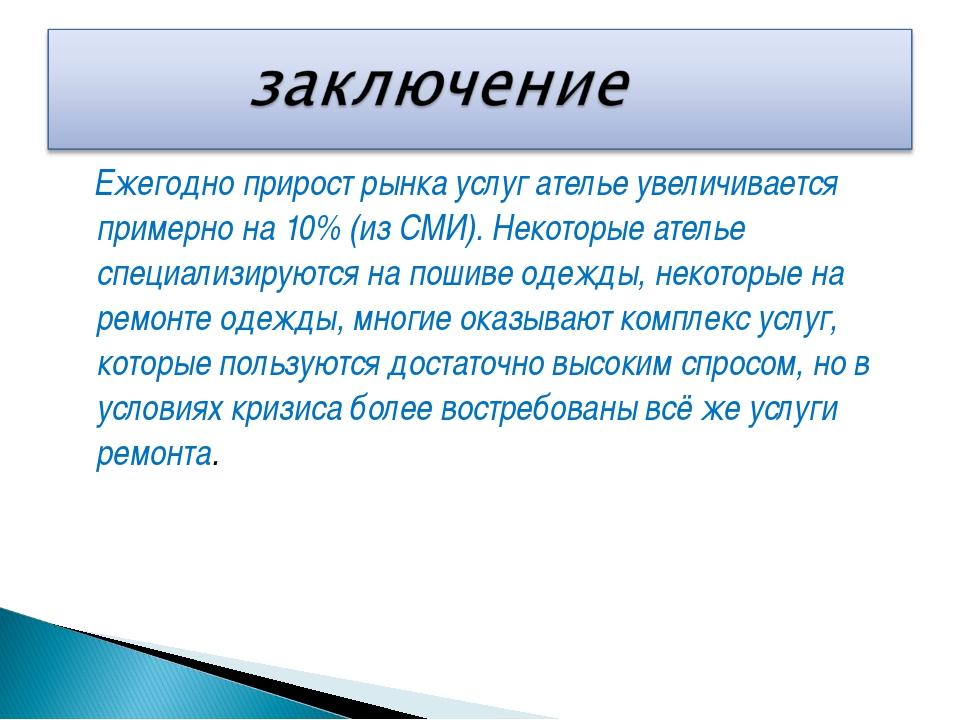 Ежегодно прирост рынка услуг ателье увеличивается примерно на 10% (из СМИ)....
