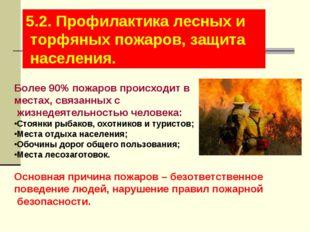 5.2. Профилактика лесных и торфяных пожаров, защита населения. Более 90% пожа