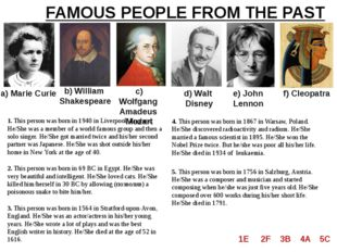 FAMOUS PEOPLE FROM THE PAST a) Marie Curie b) William Shakespeare c) Wolfgang