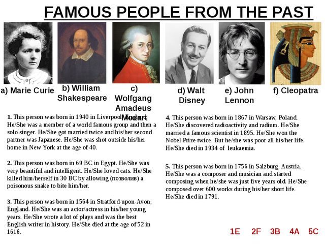 FAMOUS PEOPLE FROM THE PAST a) Marie Curie b) William Shakespeare c) Wolfgang...