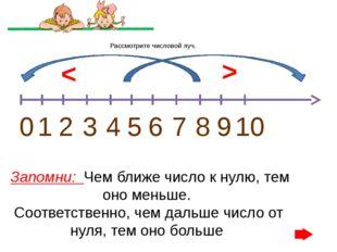 Рассмотрите числовой луч. 0 1 2 3 4 5 6 7 8 9 10 < > Запомни: Чем ближе число