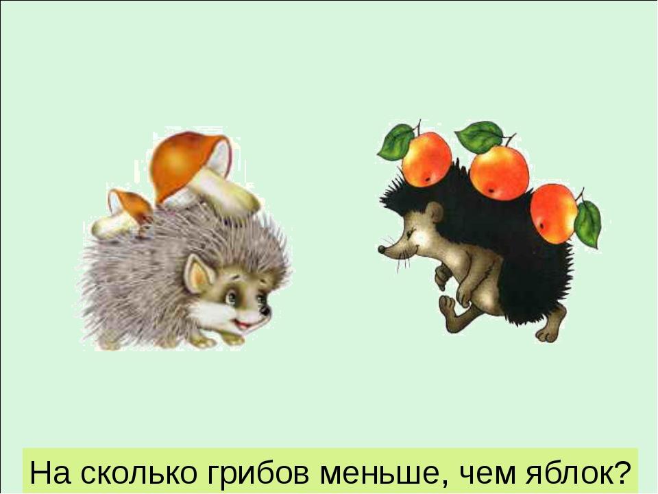 На сколько грибов меньше, чем яблок?