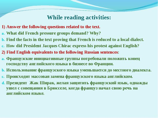 While reading activities: 1) Answer the following questions related to the t...