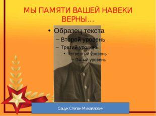 МЫ ПАМЯТИ ВАШЕЙ НАВЕКИ ВЕРНЫ… Сацук Степан Михайлович