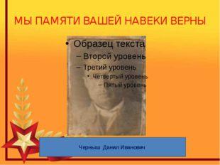 МЫ ПАМЯТИ ВАШЕЙ НАВЕКИ ВЕРНЫ Черныш Данил Иванович